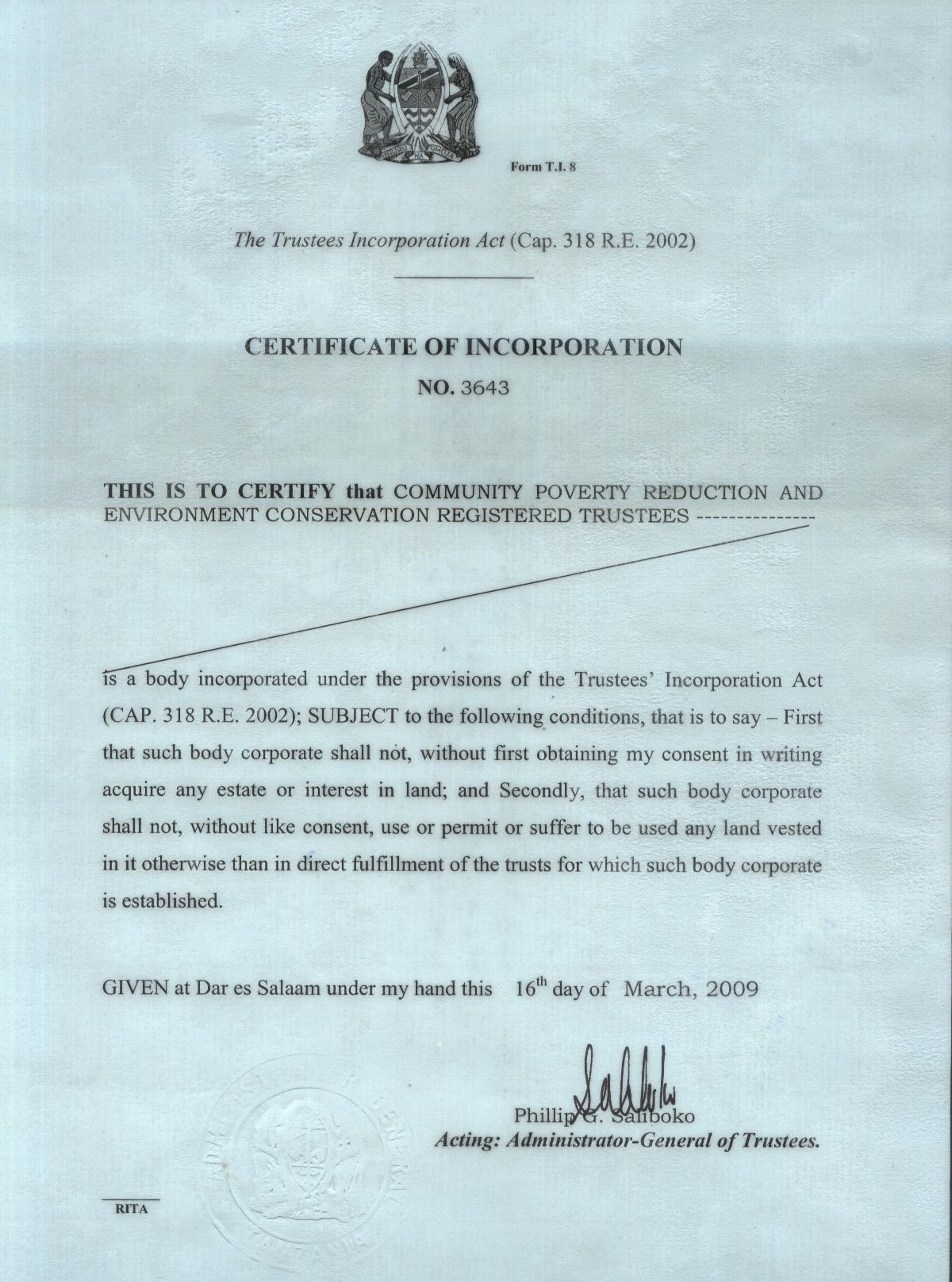 Community poverty reduction and environment conservation trust certificate of incorporation 1betcityfo Images