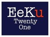 Eeku logo blue base with white border